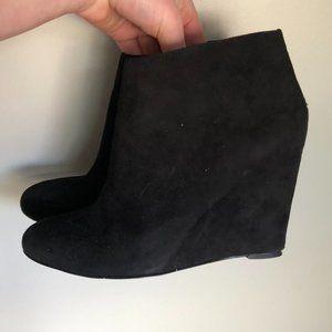 Nine West Suede Wedge Booties Black